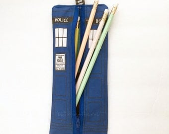 Doctor Who Tardis inspired zipper pouch, pencil case, bag, back to school