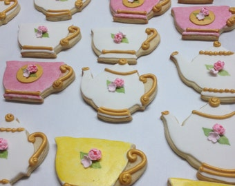 Tea pots and Tea cups decorated cookies