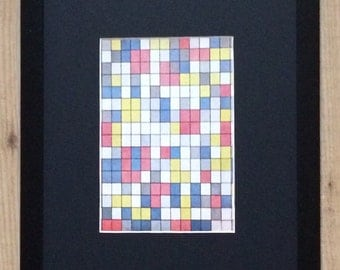 """Framed and Mounted Composition in Bright Colours Print by Piet Mondrian 16"""" x 12"""""""