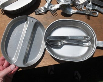 Vintage Aluminum USA Mess Kit With Utensils:  Knife, fork and spoon