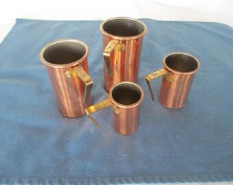 Vintage Copper Measuring Cups Set 4 Housewares Baking Supplies Bakeware Rustic Kitchen Cooking Gadgets