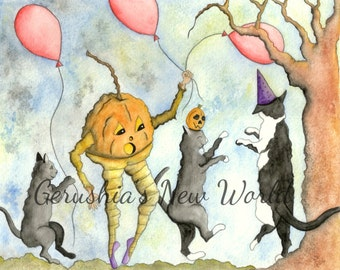 Mr. Booenday's Party - Salted Watercolor, Halloween, Cats, Print