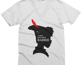 JM Barrie Novel Tee | Peter Pan Inspired Unisex V-Neck Short Sleeve Graphic Tee Men / Women / Neverland / Book / Literary / Minimalist