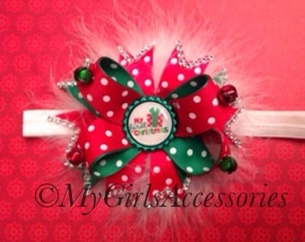 Deluxe Stacked Christmas Bow with Bling and Feathers. Order early for Christmas