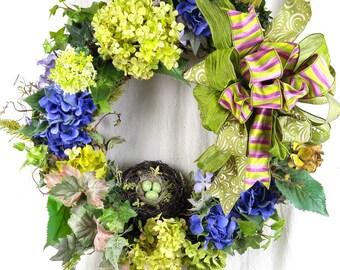 Hydrangea wreath, Wreath with Hydrangeas, Wedding Wreath, Shower Wreath, Designer Wreath