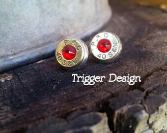 40 Caliber Bullet Casing Post Earrings- Red