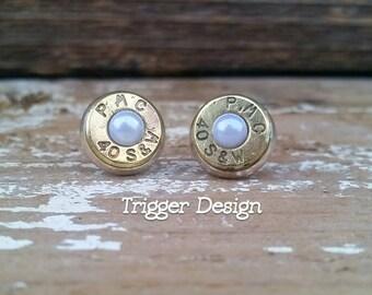 40 Caliber Bullet Casing Post Earrings- White Pearl