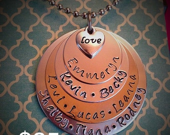 Parent or Grandparent Jewelry Mothers Necklace 4 tier circle discs with Names Handstamped and Love Heart Charm