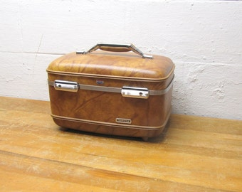 Vintage Train Case, Cosmetic Case, Makeup Case, American Tourister, Brown Overnight Case, Wedding Decor, Photo Decor Small Suitcase