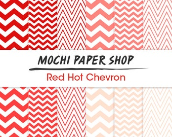 Pink & Red Chevron Paper Download, Pink Zig Zag Printable Craft Paper, Pink Chevron Background, Chevron Graphics, Red Zig Zag PNG Files
