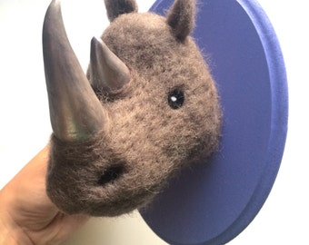 Rhino with silver horns faux needle felted taxidermy