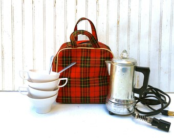 Mid-Century Hot Pot in Red Plaid Bag, Vintage Traveling Coffee Pot, Mini Coffee Pot Set