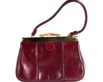 Vintage Burgundy Leather Top Handle Handbag