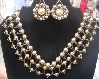 Fancy Cream Pearl Net Choker and Earring Set