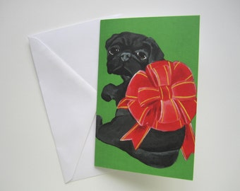 Black Pug Christmas Card, Pug Holiday Card, Black Pug with Bow Holiday Card