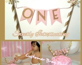 FREE SHIPPING pink & gold winter ONEderland snowflake cake bunting banner. 1st birthday, smash cake, topper, decor. Gold paper straws