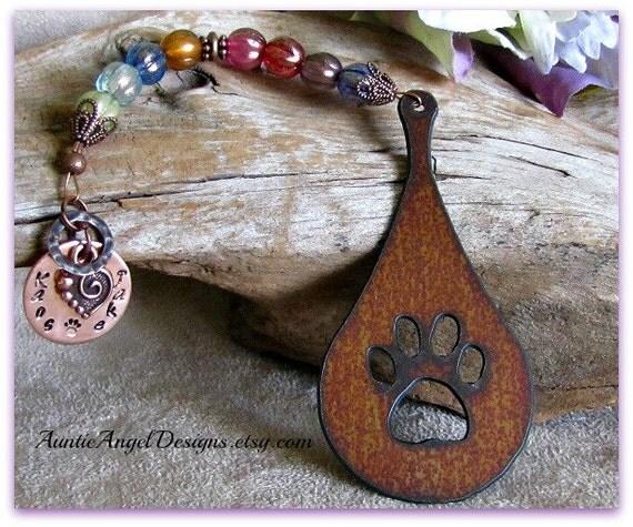 Stamped Rainbow Bridge Teardrop Memorial Ornament; Rainbow Bridge Pet Sympathy; Custom Raindrop Pet Tribute Gift; Pet Water Rehab Gift