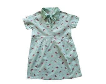 VINTAGE 30/40's / kids / summer dress / mint floral cotton / new old stock / size 4/5 Years