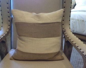 Color Block Burlap Pillow Cover/Cottage Chic Pillow/Decorative pillow/Model Home pillow