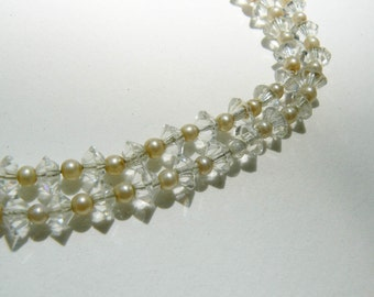 Vintage Long Clear Beaded Necklace | faux pearl