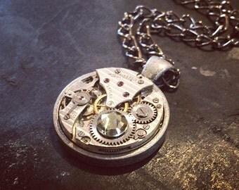 Steampunk Necklace / Pendant - Featuring a Vintage Swiss Watch Mechanism & Black Diamond Swarovski Crystal.