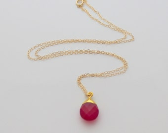 Pink Chalcedony Briolette and Gold Necklace - Bridesmaids Necklace - Teardrop Necklace - Pink Gemstone Necklace - Layering Necklace -