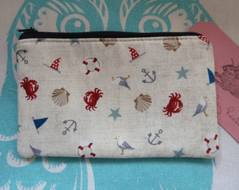Handmade Coin Purse Makeup Bag Nautical Seagull Shell Cosmetic Pouch Padded Lined
