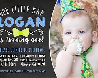Printable Birthday Invitation - Chalkboard Invite - Boy Birthday Party - Little Man Bow Tie Invitation