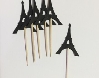 "1 dozen 2"" Eiffel tower cupcake toppers"