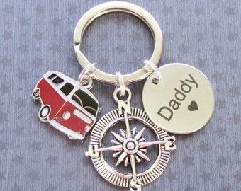 Father's Day gift - Camper van keyring for Daddy - Gift for Daddy - Father's Day keyring - Road trip - Retro camper van - Daddy keyring - UK