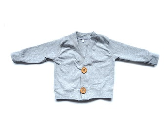Cardigan, MADE to ORDER, Heather Gray Cardigan, Baby toddler basics, by The Little Spoons