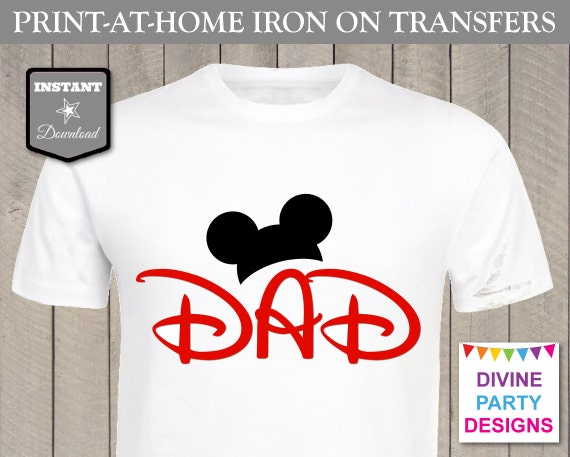 Instant Download Print At Home Mouse Ears Dad Printable