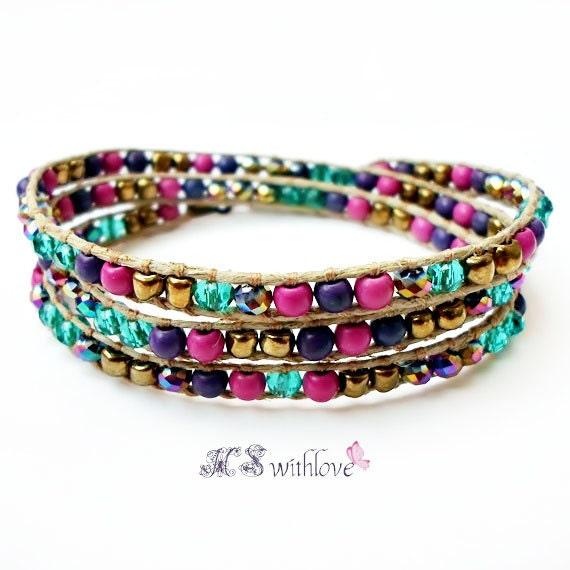 bohemian wrap bracelet colorful three wrap bracelet by