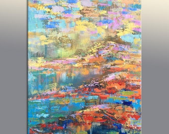 """Landscape Oil Painting, Large Oil Painting, Modern Art, Large Wall Art Canvas, Abstract Painting, Bedroom Wall Decor, Canvas Painting, 48"""""""