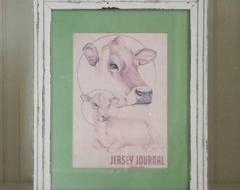 SALE! ~ Framed Vintage Jersey Print~Jersey Journal~Cow~Vintage Green~Farmhouse