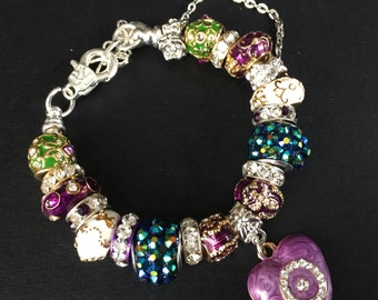 Purple Heart crystal bead bracelet.