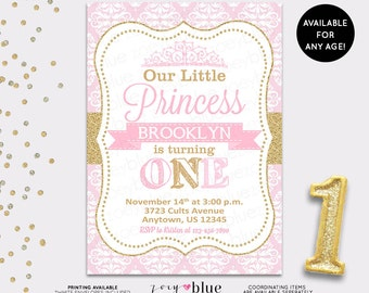 PRINCESS BIRTHDAY INVITATION Princess Invitation First Birthday pink and gold glitter Princess invite princess party Printable Invitation