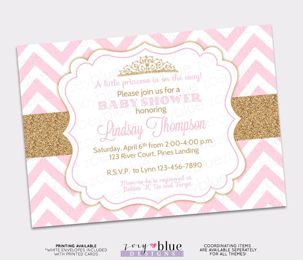 Princess Baby Shower Invitation Pink Chevron Gold Glitter