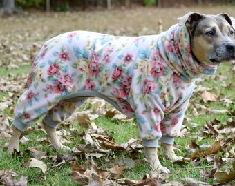 CUSTOM LARGE DOG pajamas / pjs / onesie / longjohns / pitbull / fleece/flowers/ floral/ tooth and honey