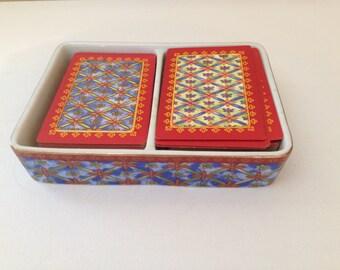 Vintage Neiman Marcus Porcelain Double Set Card Lidded Box