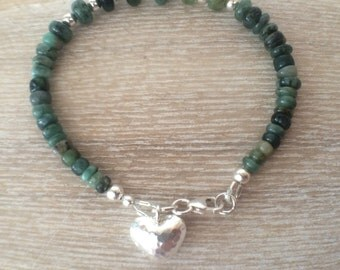Emerald Heart Charm Bracelet, Sterling Silver Bracelet, Green Gemstone Bracelet, Emerald Jewellery, May Birthstone, Jewelry Gift