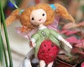 Strawberry fairy doll terrarium decor, miniature garden ornament, indoor plant decoration, gift for succulent lovers