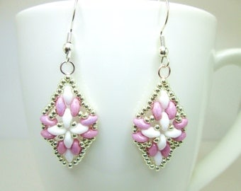 Pink white and silver super duo diamond shaped beaded earrings