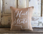 Burlap Pillow - Hail State pillow | Mississippi State pillow | Mother's Day gift |  Graduation Gift | Dorm Decor