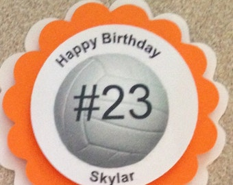 Volleyball party personalized cupcake toppers birthday team name number