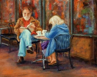Figurative oil painting, 9 x 12, man, woman figure, impressionist, abstract, urban, cafe, city, landscape, original art by DJ Lanzendorfer