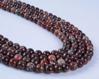 "6MM239 6mm Red brecciated jasper round ball loose gemstone beads 16"""