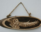 "Pyrography on a wooden slice - ""Flying Owl"""