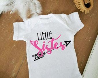 Little Sister Boho Bohemian Arrow Baby Bodysuit Customize Color Baby Girl Top