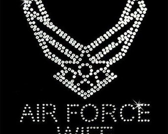 Rhinestone Transfer - Hot Fix Motif - Air Force Wife